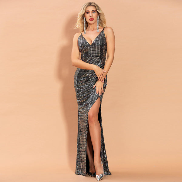 Fast-selling European and American sling long dress 2020 spring dress new sexy open fork sequin party evening dress girl