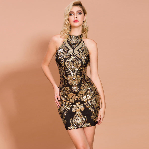 Amazon foreign trade new sexy round neck geometric slim hip sequins short sleeveless banquet evening dress ladies