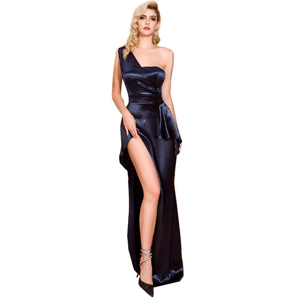 Spring and summer 2020 new cross-border foreign trade evening dress European and American sexy open fork irregular one-shoulder dress long female