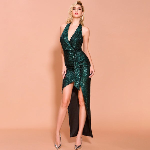 Sparkling evening dress 2020 foreign trade new annual meeting banquet sexy irregular body host dress