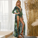 2020 summer vacation swimsuit deep V bohemian wind sunscreen sexy fake 2 9111