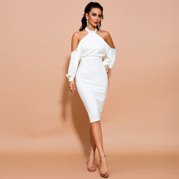 Europe and the United States foreign trade banquet evening dress 2020 autumn new neck shoulder-length white dress female spot