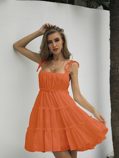 Sling dress women's summer 2020 new super fairy sen cake skirt vintage orange terrier girl fairy dress