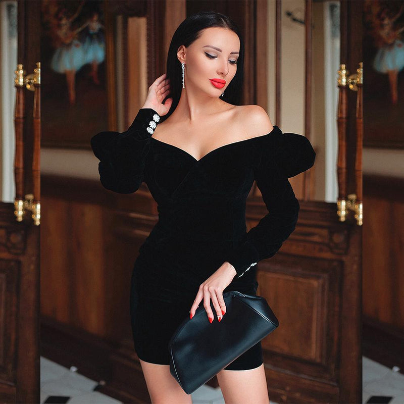Vivian Black Velvet Mini Dress