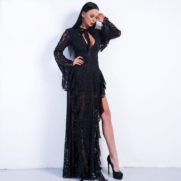 Europe and the United States in the Spring and Autumn period sexy long-sleeved chest hollowed-out high-waist lace solid-colored waist dress