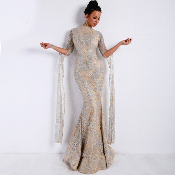 Europe and the United States dress women 2020 new long sleeve mesh sparkling sequins evening dress dress trade Amazon