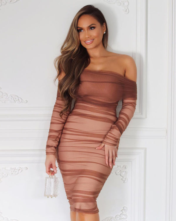 Tiffany Brown Ruched Midi Dress