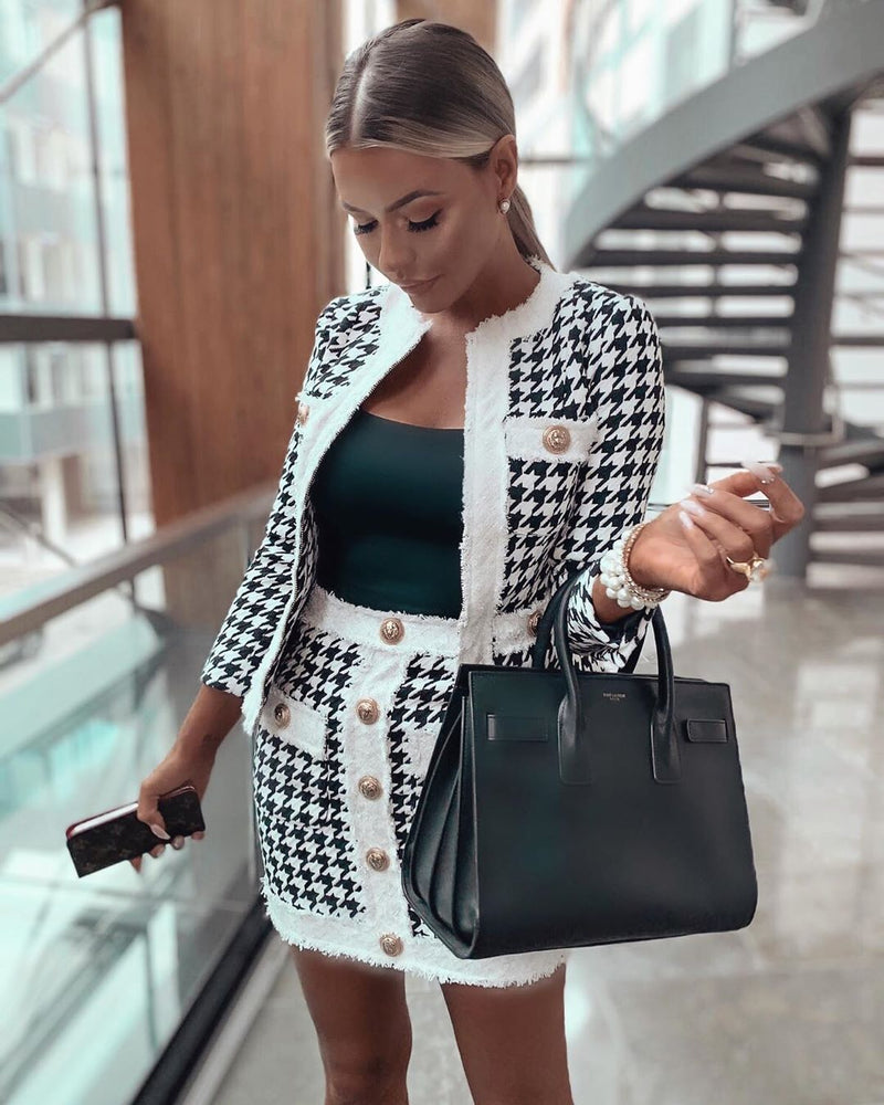 Allegra Houndstooth Two Piece Set- LIMITED STOCK