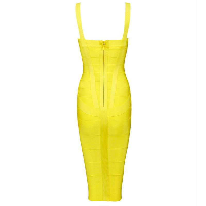 Lola Yellow Bandage Midi Dress