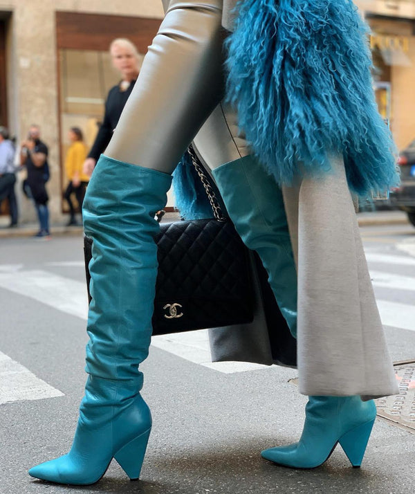 Penelope Teal Thigh High Boots