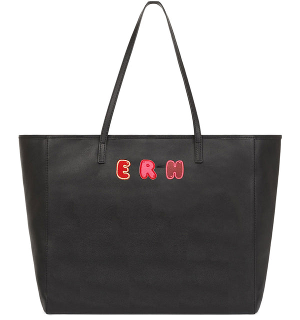 Hill & Friends Customisable Monogrammed Tote Bag in Black with Embroidered Lettering