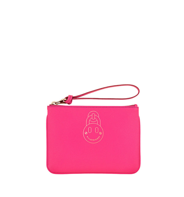Hill & Friends Pink Leather Friendly Padlock Pouch