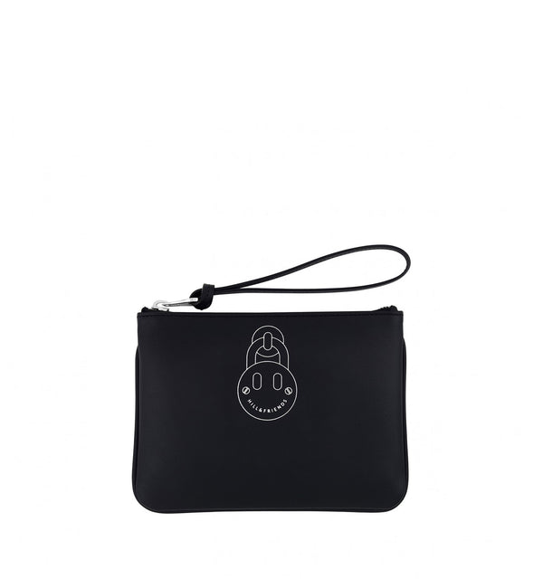 Hill & Friends Black Leather Friendly Padlock Pouch