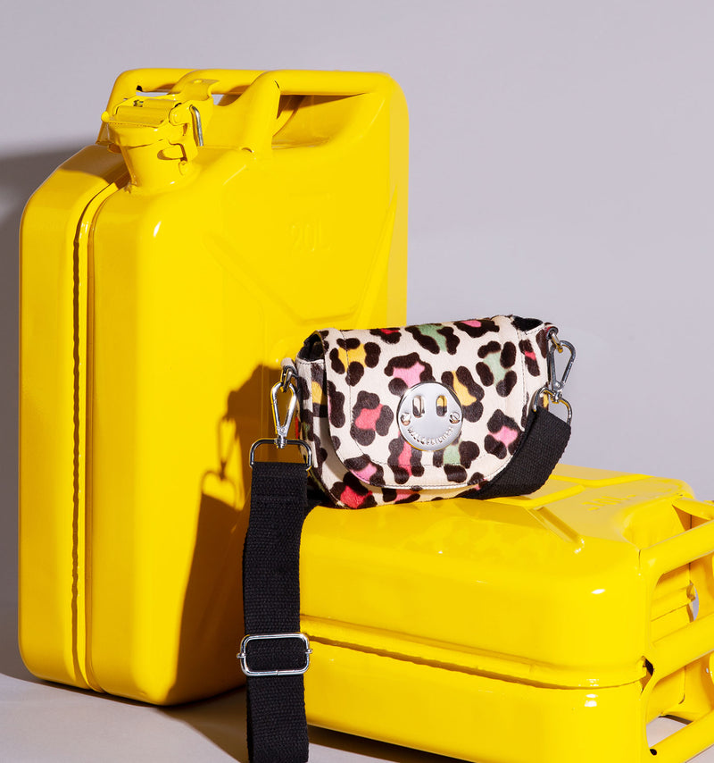 The 341 Mini Bag in Rainbow Leopard Printed Haircalf with Webbing Strap