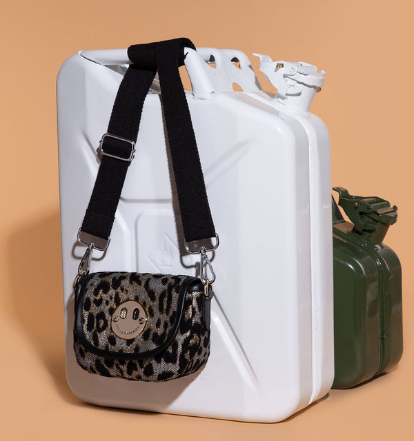 The 341 Mini bag in Metallic Leopard Jacquard with Black Webbing Strap