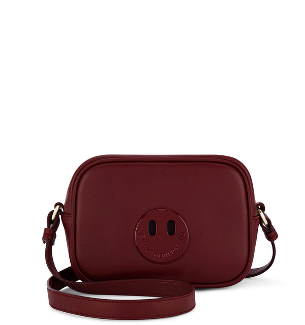 Happy Mini Camera Bag - Oxblood Mini Camera Bag with Oxblood 'Happy' face plaque - Hill and Friends