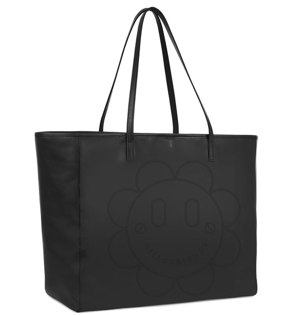 Black Leather Flower Tote Bag