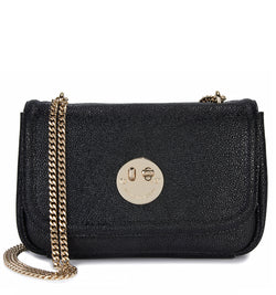 Liquorice Black Cross-Body Chain Bag - Pebbled Leather