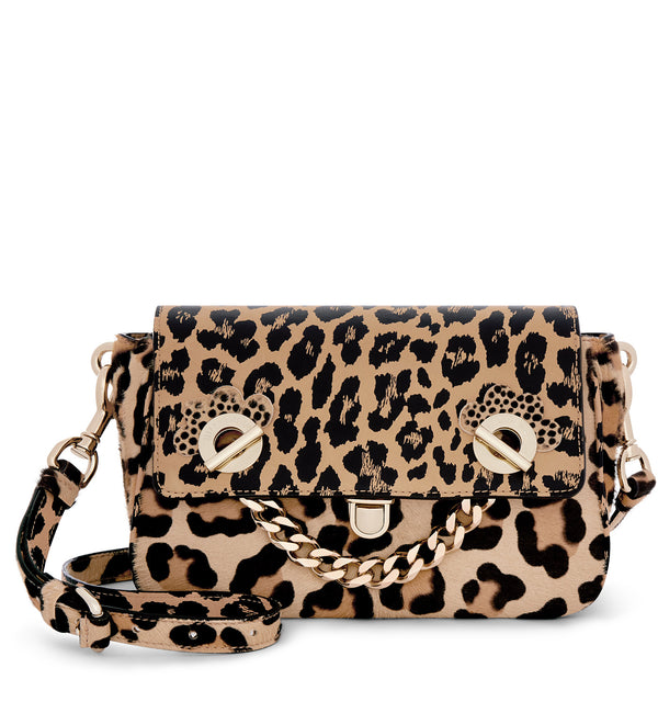 Hill & Friends Leopard Print & Haircalf Chain Smile Creature Bag