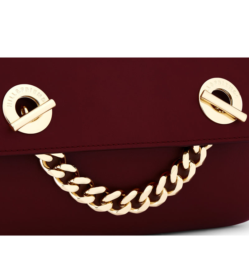 Hill & Friends Oxblood Chain Smile Creature Bag Detail