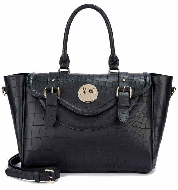 Black Leather Croc Embossed Satchel Handbag with 'Winky' Twist Lock - Hill and Friends
