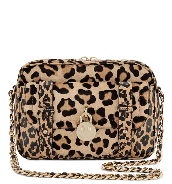 Hill & Friends Friendly Padlock Camera Bag Leopard Printed Haircalf Camera Bag