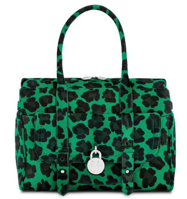 Hill & Friends Friendly Padlock Green Leopard Printed Haircalf Handbag