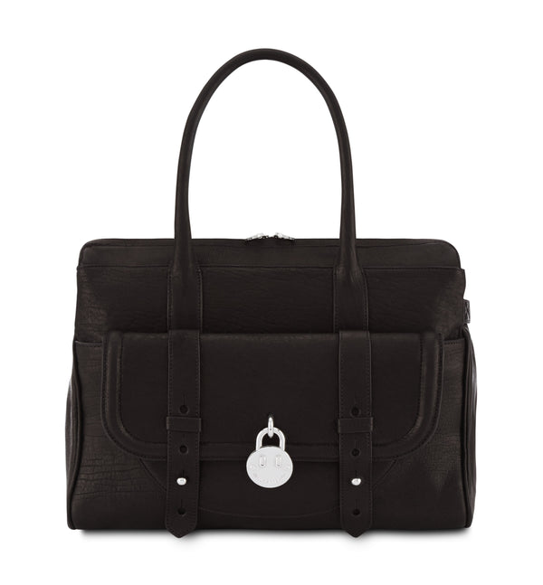 Hill & Friends Friendly Padlock Black Leather Handbag