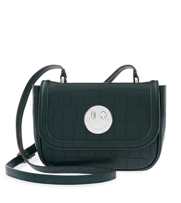 Hill & Friends Bottle Green Croc Embossed Happy Bag