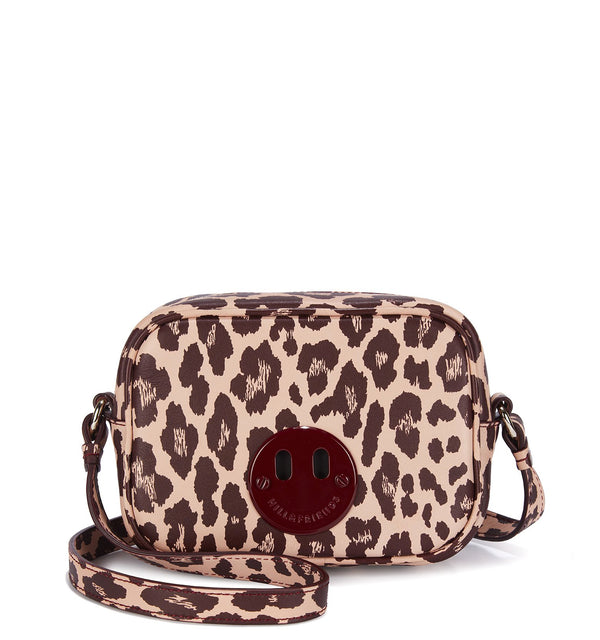 Happy Mini Camera Bag - Blush and Oxblood Leopard Print Mini Camera Bag with Oxblood 'Happy' face plaque - Hill and Friends - Hill and Friends