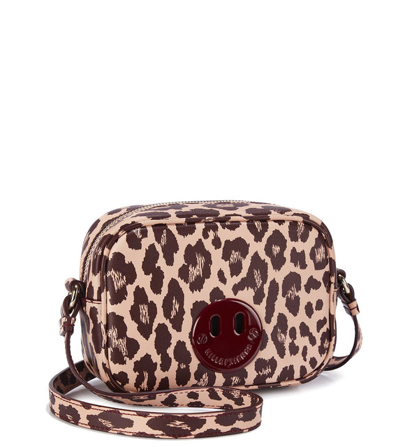 Happy Mini Camera Bag - Blush and Oxblood Leopard Print Mini Camera Bag with Oxblood 'Happy' face plaque - Hill and Friends - Hill and Friends - Hill and Friends