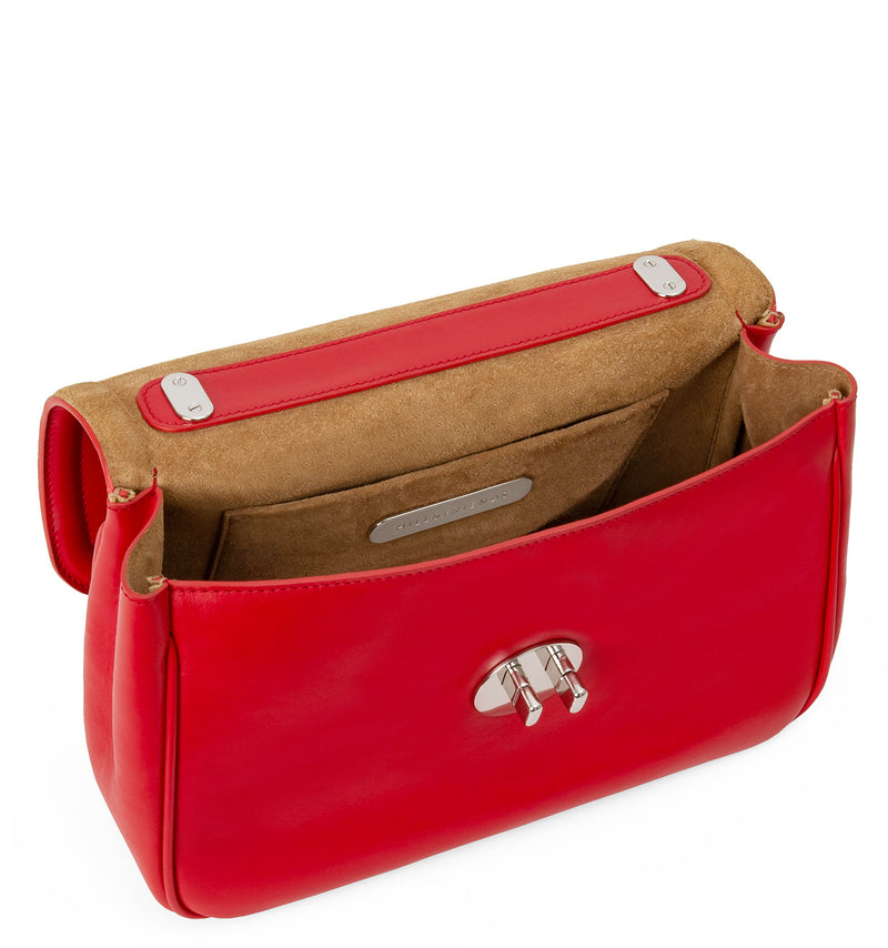 1f60fd695 Hill and Friends | Red Leather Happy Cross-Body Chain Strap Bag
