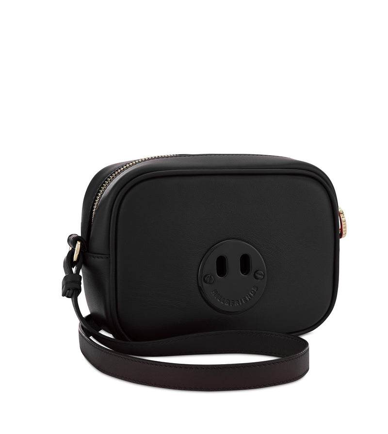Happy Mini Camera Bag - Black Mini Camera Bag with Black 'Happy' face plaque - Hill and Friends