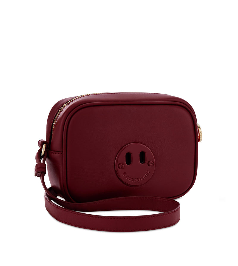 Happy Mini Camera Bag - Oxblood Mini Camera Bag with Oxblood 'Happy' face plaque - Hill and Friends - Hill and Friends