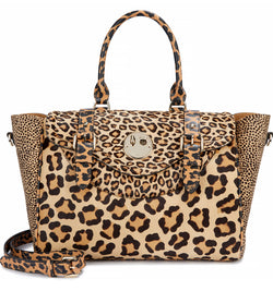 Happy Satchel - Leopard Print Leather and Haircalf Satchel with Pale Gold 'Winky' Twist Lock - Hill and Friends