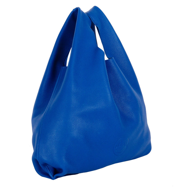 Happy Shopper - Blue Leather Carrier Bag with Smile Emboss - Hill and Friends