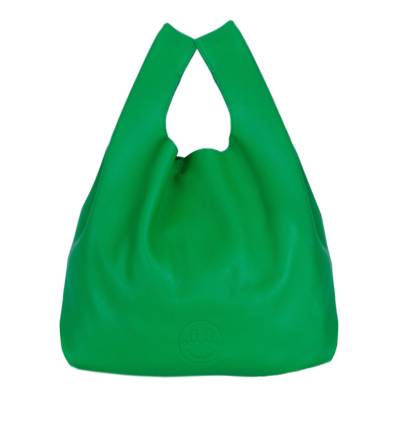 Happy Shopper - Green Leather Carrier Bag with Smile Emboss - Hill and Friends
