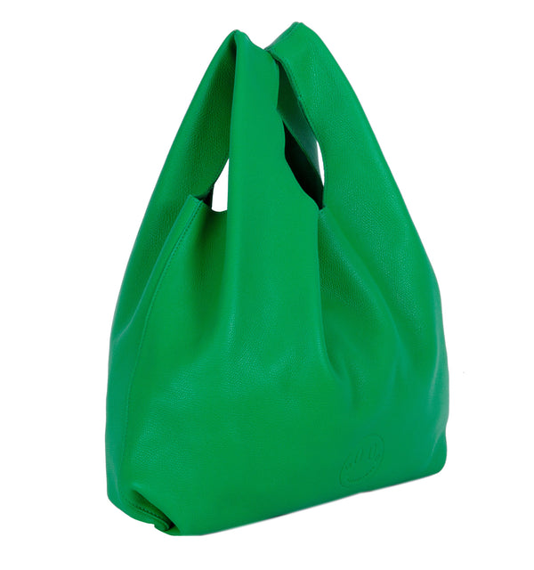 Happy Shopper - Green Leather Carrier Bag with Smile Emboss - Hill and Friends - Hill and Friends