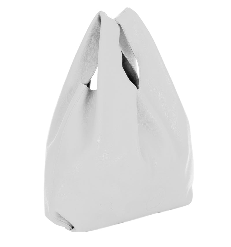 Happy Shopper - White Leather Carrier Bag with Smile Emboss - Hill and Friends