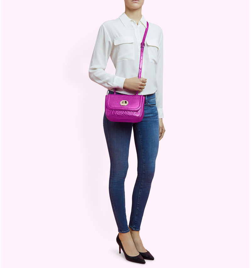 Hill & Friends Pink Metallic Happy Bag Model