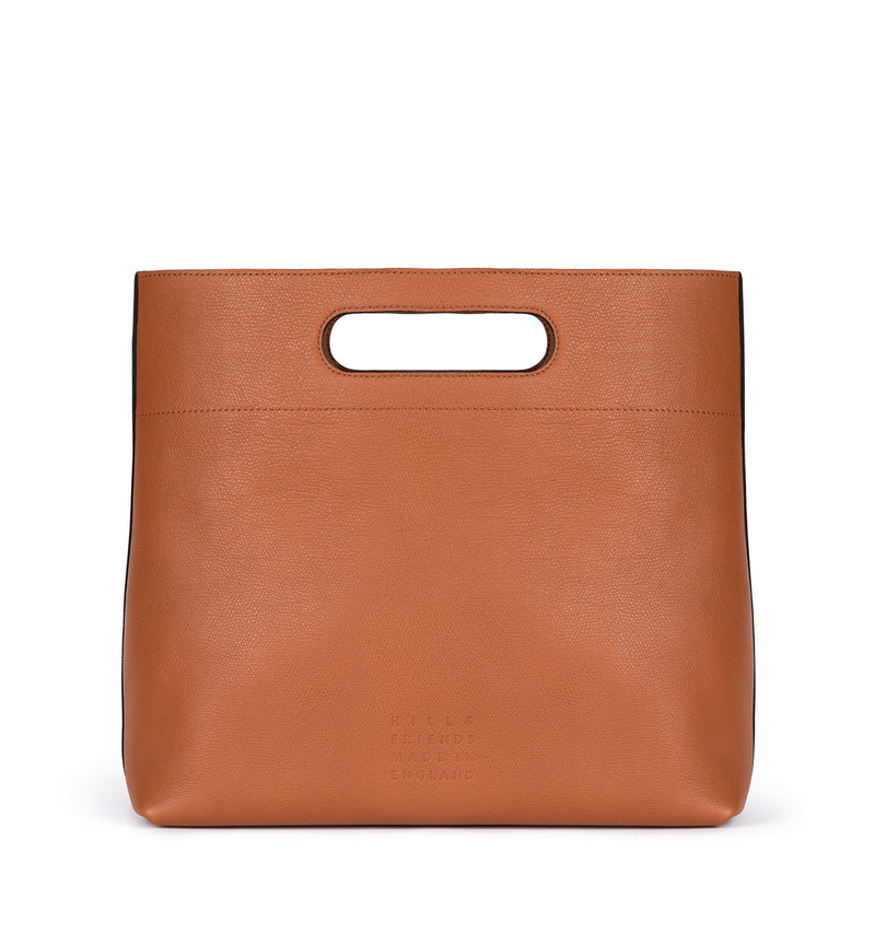 Lozenge Handle Clutch Bag in British Tan - Hill and Friends