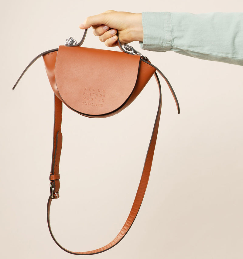 Mini Bell Half Moon Handbag in British Tan Brown