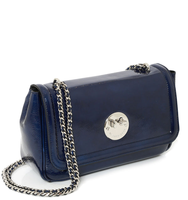 Navy Patent Leather Cross-Body Chain Bag - Hill and Friends