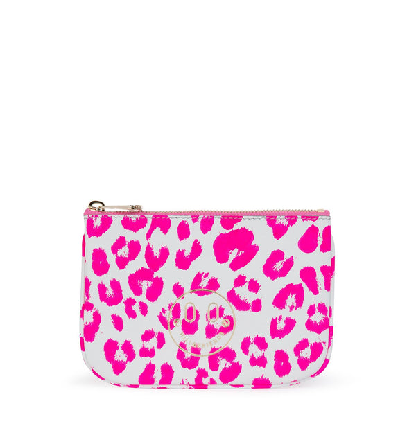 Pink Neon Leopard Printed Nappa Leather Pouch Purse