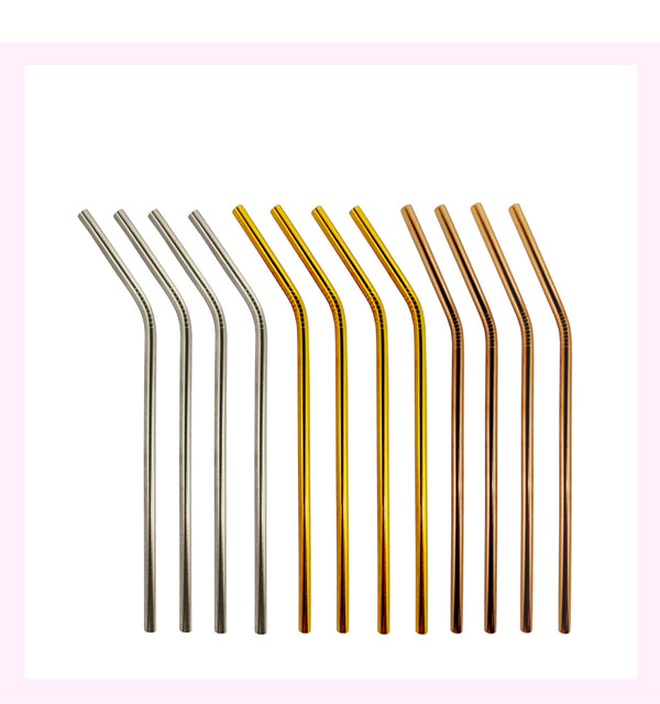Set Of 12 Metallic Mix Stainless Steel Drinking Straw