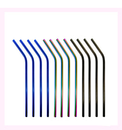 Set Of 12 Rainbow Mix Stainless Steel Drinking Straw