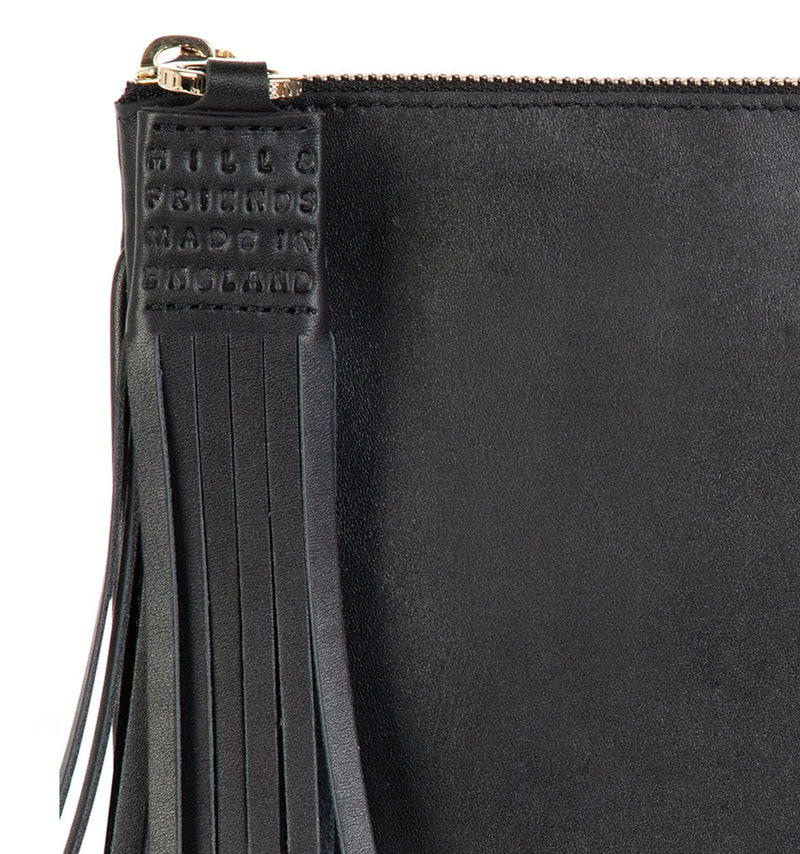 Alphabet Pouch - Personalisable Tassel Leather Pouch Black