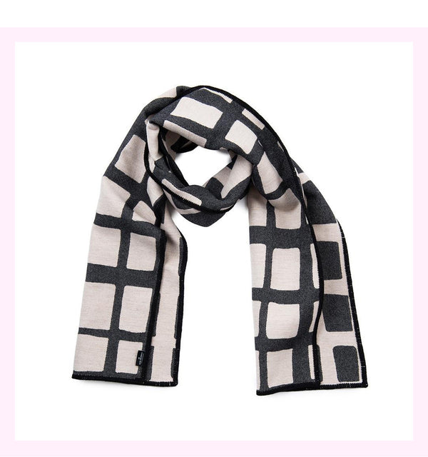 KENSAL CHECK REVERSIBLE MERINO WOOL SCARF BLACK & LINEN