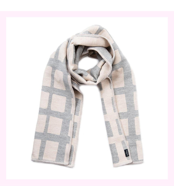 KENSAL CHECK REVERSIBLE MERINO WOOL SCARF LINEN & GREY