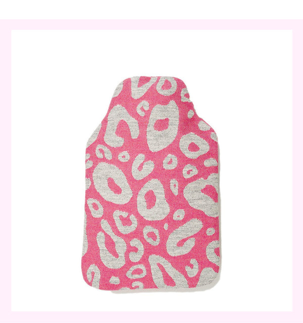 HAMILTON SPOT HOT WATER BOTTLE GREY ON HOT PINK